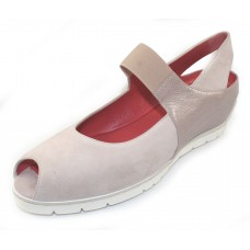 Pas De Rouge Women's Silvia P928 In Pale Suede/Bisque Pearlized Leather