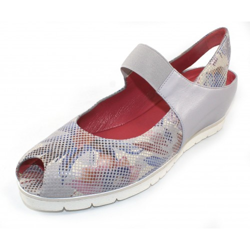 Pas De Rouge Women's Silvia P928 In Sasso Stamp 9 Multi Colored Embossed Suede/Bone Nappa Leather