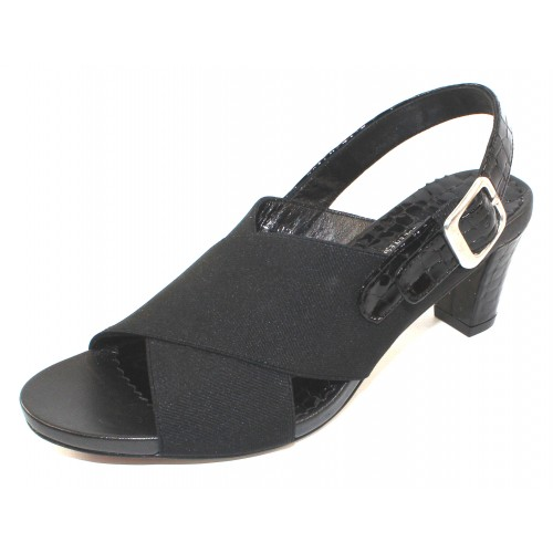 Right Bank Shoe Co Women's Hunter In Black Basic Elastic/Patent Croco Leather