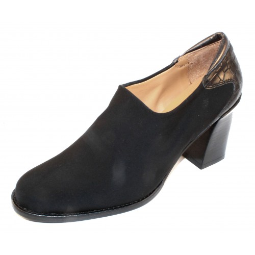 Right Bank Shoe Co Women's Joker In Black Crepe Stretch Fabric/Croco Embossed Leather