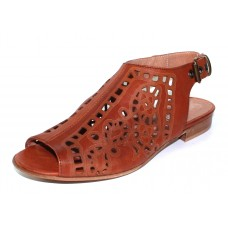 Ron White Women's Ally In Cognac Laser Cut Antiqued Calf Leather