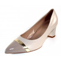 Ron White Women's Bonita In Off White Nappa Leather/Nude Patent Leather