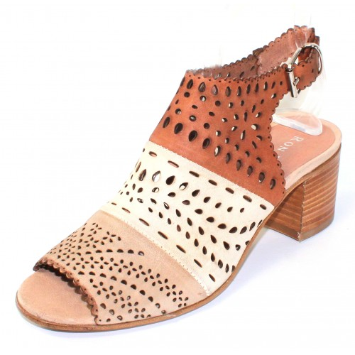Ron White Women's Dora In Greige Multi Laser Cut Washed Nubuck