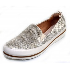 Ron White Women's Nell In Platino Metallic Stamped Snake Embossed Leather/White Leather