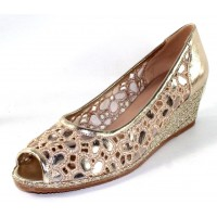 Ron White Women's Raine In Platino Metallic Nappa Leather/Lace