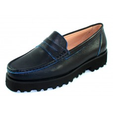 Ron White Women's Rita Penny In Navy Nappa Leather/Electric Blue Edging