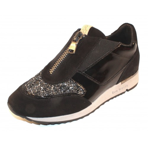 Ron White Women's Zaza In Onyx Black Cashmere Suede/Gloss Patent Leather/Black Elastic