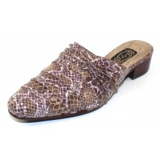 Salpy Women's Jules In Burgundy/Beige Multi Snake Embossed Suede