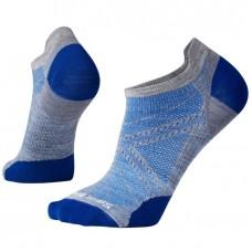 Smartwool Phd Run Ultra Light Micro Socks In Light Grey/Dark Blue Wool/Nylon