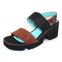 Thierry Rabotin Women's Bacco In Black/Brown Embossed Turtle Leather