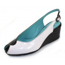 Thierry Rabotin Women's Cadet In Black/White Shine Patent Leather