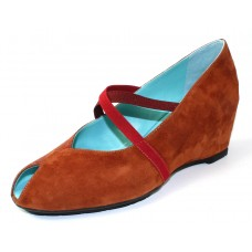 Thierry Rabotin Women's Carmine In Rust Suede/Turtle Embossed Suede