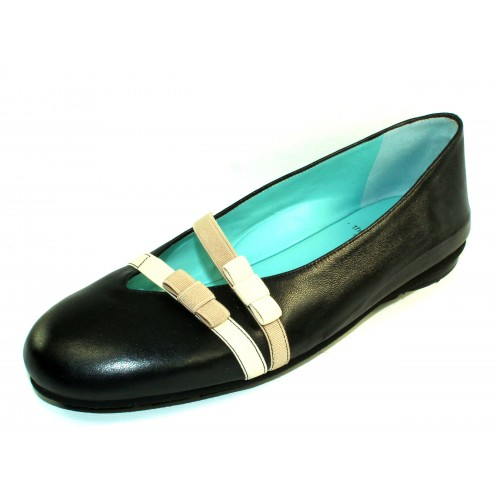Thierry Rabotin Women's Giglio In Black Taffeta Pearlized Leather/Beige And Taupe Elastic
