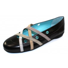 Thierry Rabotin Women's Gloss In Black Nappa Leather/Multi Color Beige Elastic
