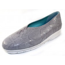 Thierry Rabotin Women's Grace Plus In Grey Florida Embossed Printed Suede