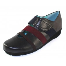 Thierry Rabotin Women's Koala In Black Taffeta Leather/Brown/Burgundy Elastic