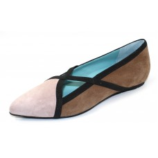 Thierry Rabotin Women's Magda In Beige Multi Suede/Black Grosgrain/Elastic Trim