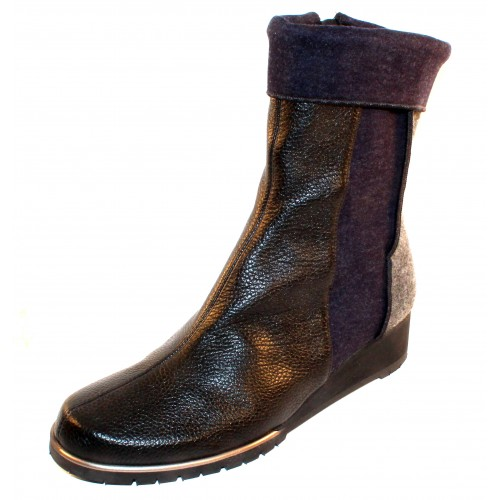 Thierry Rabotin Women's Clay In Black Grain Leather/Grey/Blue Flannel