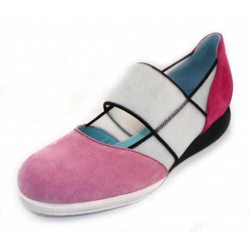Thierry Rabotin Women's Penley In Pink Suede/Fuschia Suede/White Stretch Mesh
