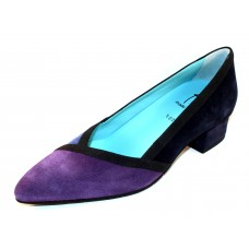 Thierry Rabotin Women's Pippi In Navy Blue/Purple/Mid Blue Suede/Black Grosgrain