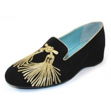 Thierry Rabotin Women's Serra In Black Suede/Gold Embroidery