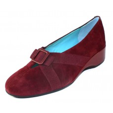 Thierry Rabotin Women's Zita In Burgundy Suede/Elastic/Taffetta Pearlized Leather