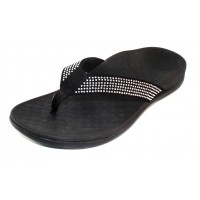 Vionic Women's Tide Rhinestones In Black Leather