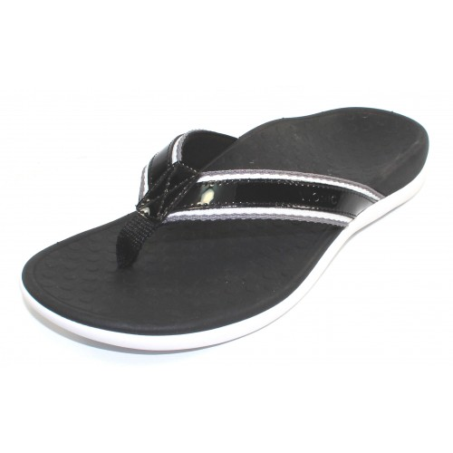 Vionic Women's Tide Sport In Black Patent Leather/Grey/White Fabric