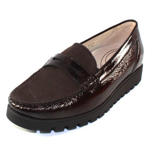 Waldlaufer Women's Eliza 549002 In Schiefer Brown Crinkle Patent Leather/Dark Brown Suede
