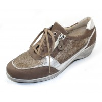 Waldlaufer Women's Faith 305006 In Taupe Suede/Textured Panels