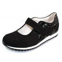 Waldlaufer Women's Orla 370303 In Black Suede/Mesh/Crinkle Patent Leather