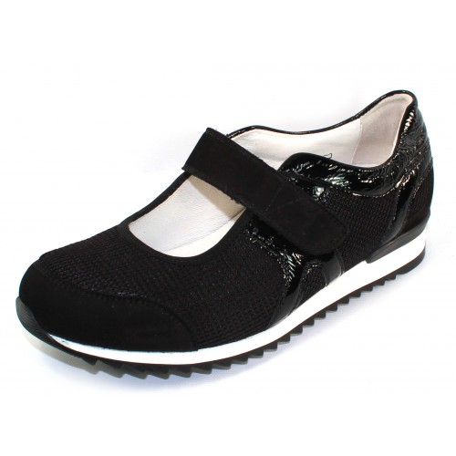 Waldlaufer Women's Orla 370303 In Black Suede/Mesh/Crinkle Patent Leather