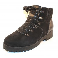 Waldlaufer Women's Sadie 338901 In Black Waterproof Nubuck/Leather