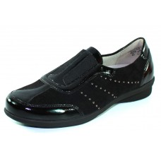 Waldlaufer Women's Shea 214501 In Black Patent Leather/Suede/Elastic