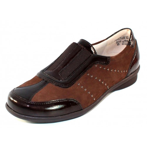 Waldlaufer Women's Shea 214501 In Brown Patent Leather/Suede/Stretch