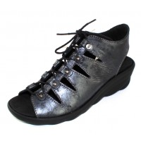 Wolky Women's Arena In Black Amalia Embossed Nubuck