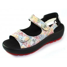 Wolky Women's Rio In White Multi Canals Embossed Leather