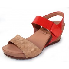 Wonders Women's D-7614 In Natural Perfed Leather/Coral Orange Patent Leather