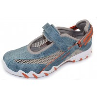 Allrounder By Mephisto Women's Niro In Jeans Suede/Grey Mesh 95/12
