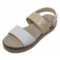 Amalfi By Rangoni Women's Bradley In White Parma Soft Leather/Beige Summerside Embossed Patent Croco Leather