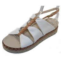 Amalfi By Rangoni Women's Brent In White Parma Leather/Curry Leather Trim
