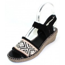 Andre Assous Women's Dana In Black/White/Beige Woven Fabric/Black Suede