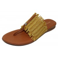 Andre Assous Women's Niviya In Mustard Woven Leather/Tan Leather Trim