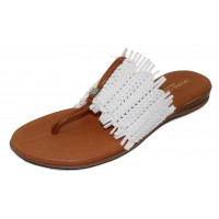 Andre Assous Women's Niviya In White Woven Leather/Tan Leather Trim