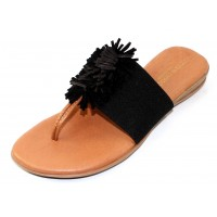 Andre Assous Women's Novalee In Black Stretch Elastic/Suede/Leather Fringe