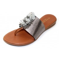 Andre Assous Women's Novalee In Pewter Stretch Elastic/Leather Fringe