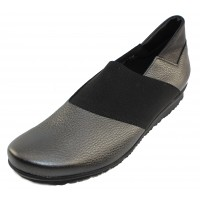 Arche Women's Barska In Ornoir Hopi Metallic Leather/Noir Stretch Elastic - Charcoal Black/Noir