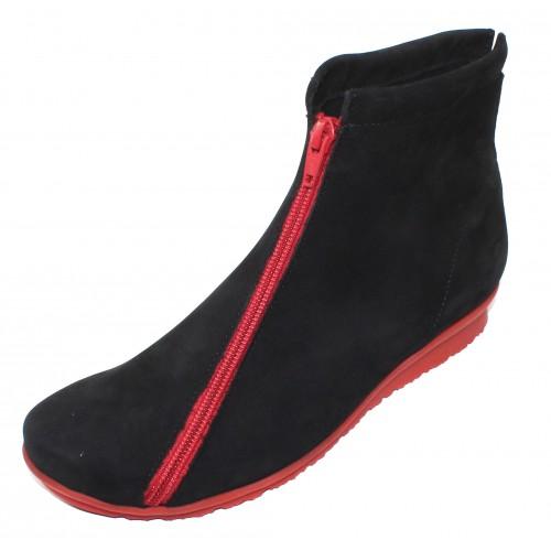Arche Women's Barwol In Noir Nubuck/Rouge Zipper - Black/Red