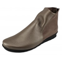 Arche Women's Baryky In Moon/Cerf Metal Leather/Mud Woody Leather - Metallic Pewter/Brown