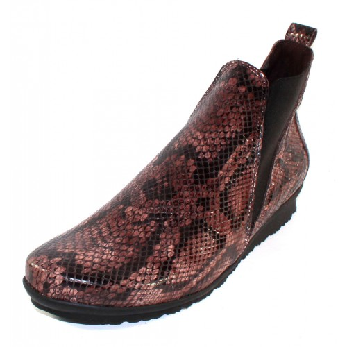Arche Women's Barzo In Stone Alison Embossed Snake Printed Patent Leather - Brown